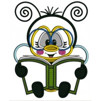 Bee Reading a Book School Applique Machine Embroidery Design Digitized Pattern