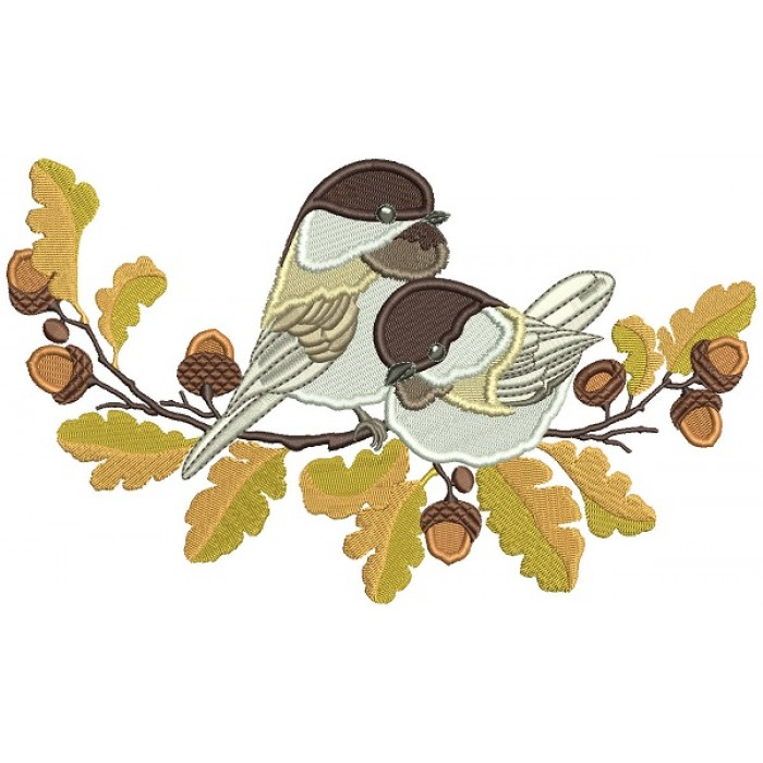 Bird Sitting On The Branch With Acorns Filled Machine Embroidery Design Digitized Pattern