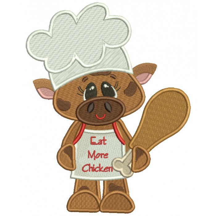 Bull Cook With Eat More Chicken Apron Filled Machine Embroidery Design Digitized Pattern