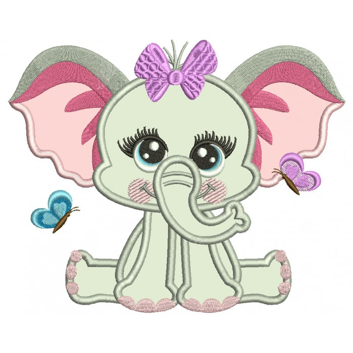 Cute Baby Girl Elephant With Butterflies Applique Machine Embroidery Design Digitized Pattern