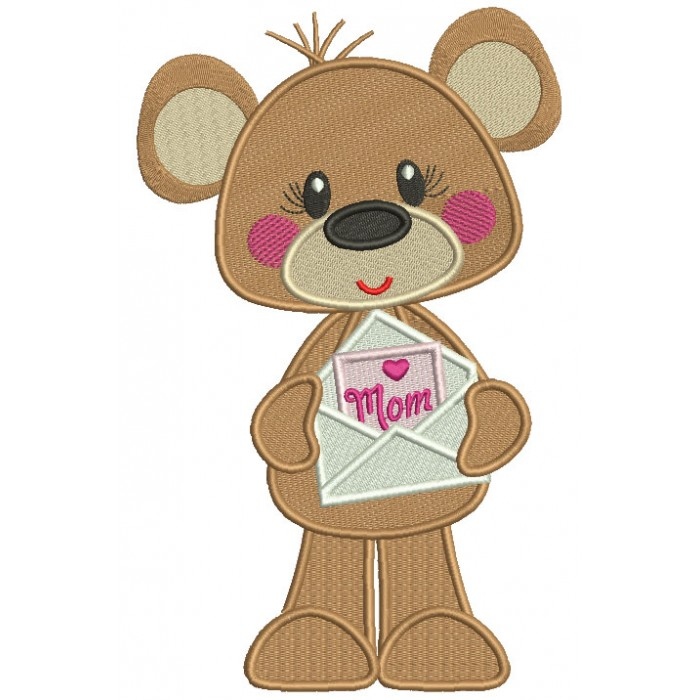 Cute Bear Holding Letter To Mom Mother's Day Filled Machine Embroidery Design Digitized Pattern