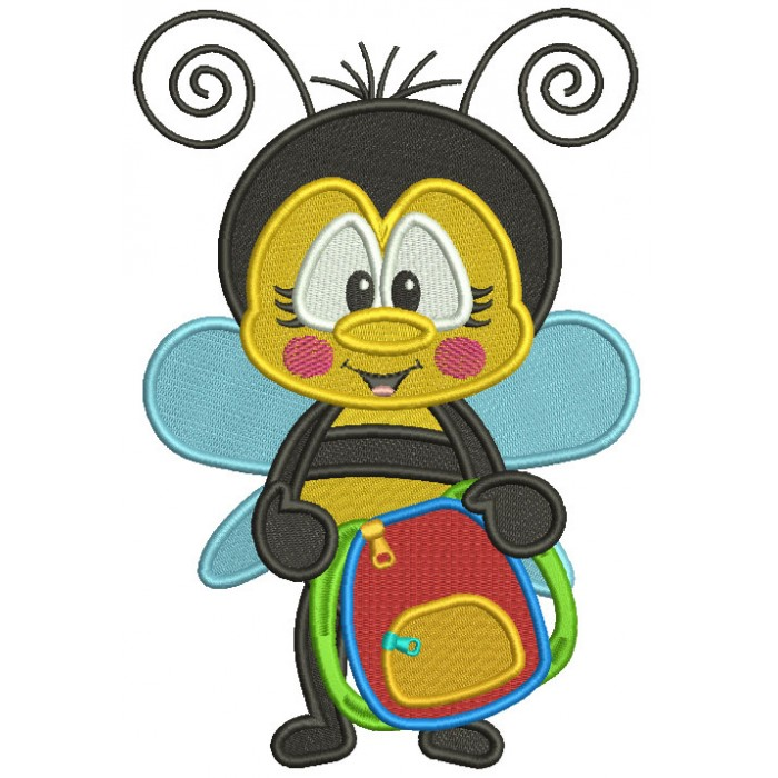 Cute Bee Holding School Backpack Filled Machine Embroidery Design Digitized Pattern