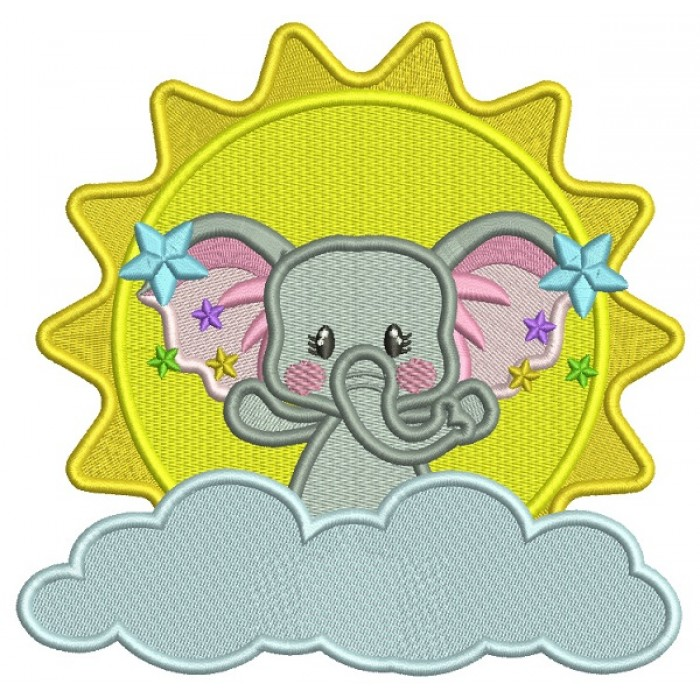 Cute Elephant On a CLoud And Big Sun Filled Machine Embroidery Design Digitized Pattern