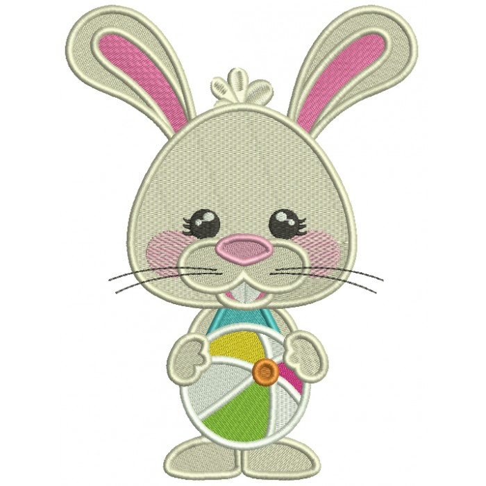 Cute Little Bunny With Beach Ball Filled Machine Embroidery Design Digitized Pattern
