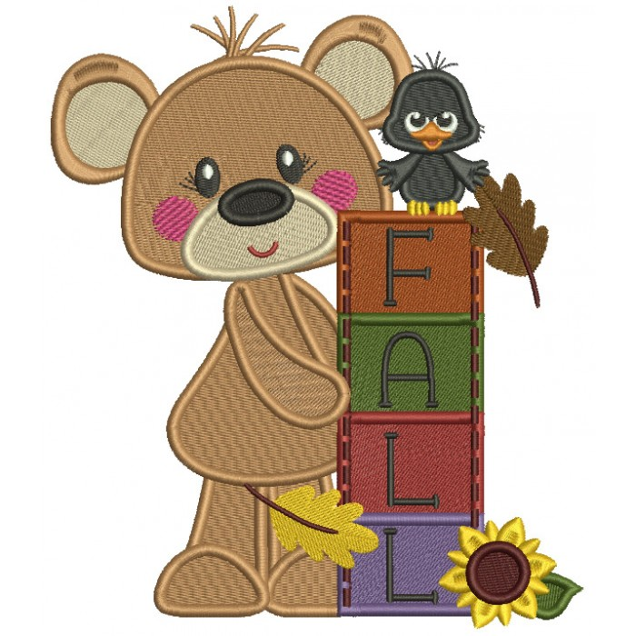 Fall Cute Bear With a Crow Filled Machine Embroidery Design Digitized Pattern