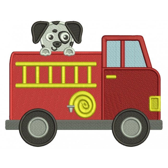 Firetruck And a Dog Filled Machine Embroidery Design Digitized Pattern