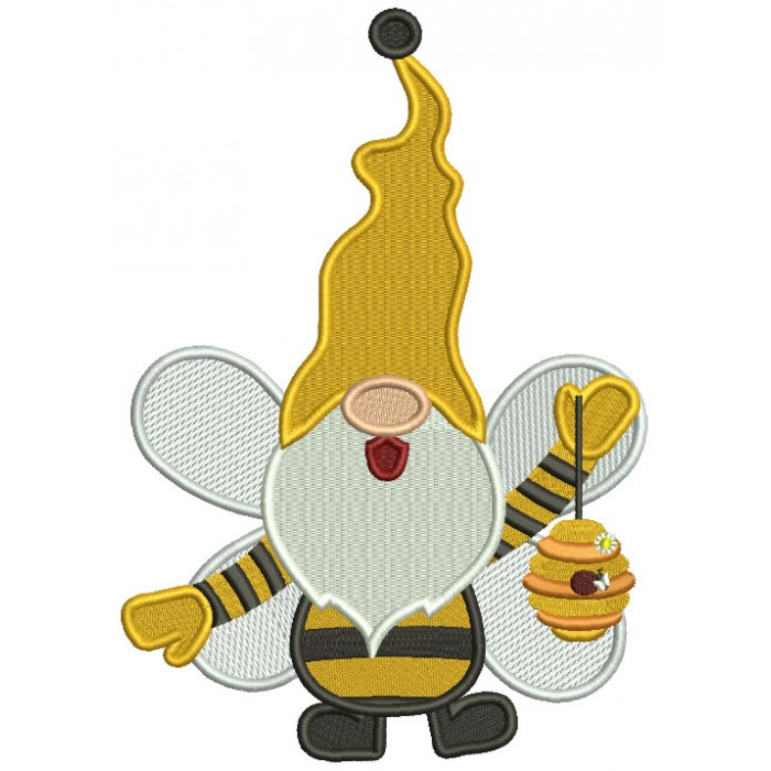 Gnome Bumble Bee Holding Beehive Filled Machine Embroidery Design Digitized Pattern