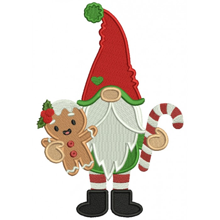 Gnome Holding Gingerbread Man Christmas Filled Machine Embroidery Design Digitized Pattern
