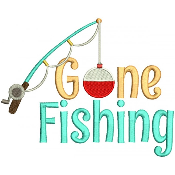 Gone Fishing Big Fishing Pole Filled Machine Embroidery Design Digitized Pattern