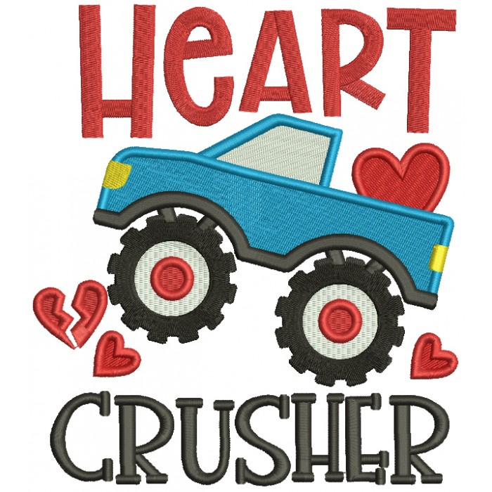 Heart Crusher Monster Truck Valentine's Day Filled Machine Embroidery Design Digitized Pattern