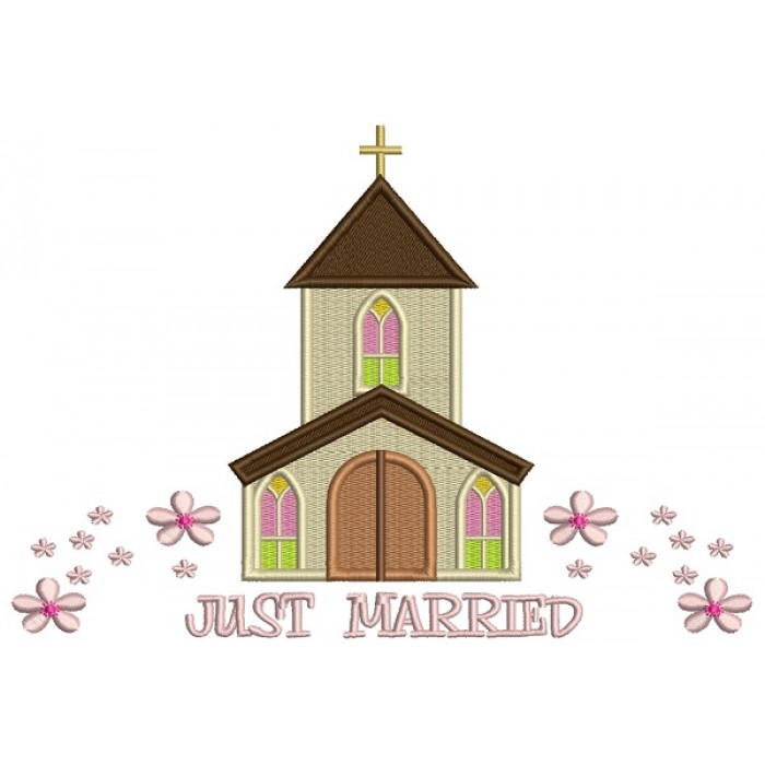 Just Married Church With Flowers Religious Filled Machine Embroidery Design Digitized Pattern