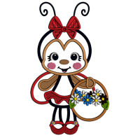Ladybug a Flower Basket And a Bow Applique Machine Embroidery Design Digitized Pattern
