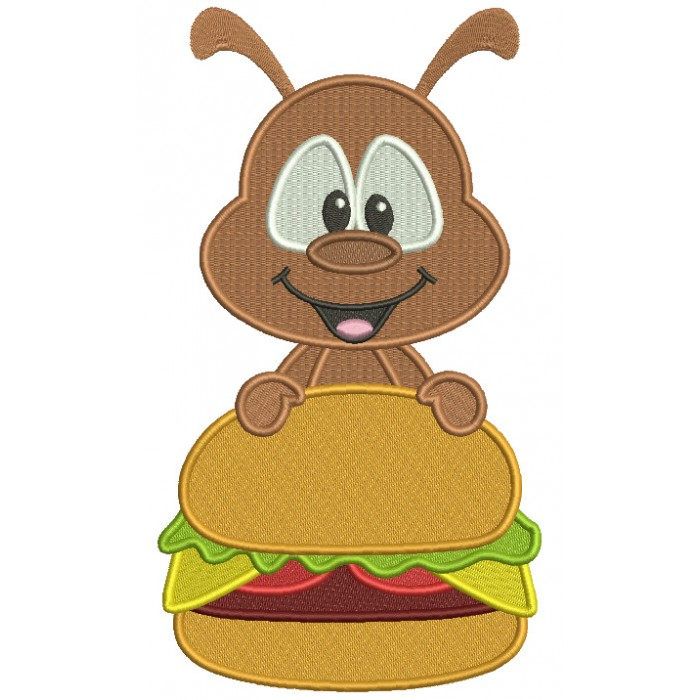 Little Ant Holding a Hamburger Filled Machine Embroidery Digitized Design Pattern