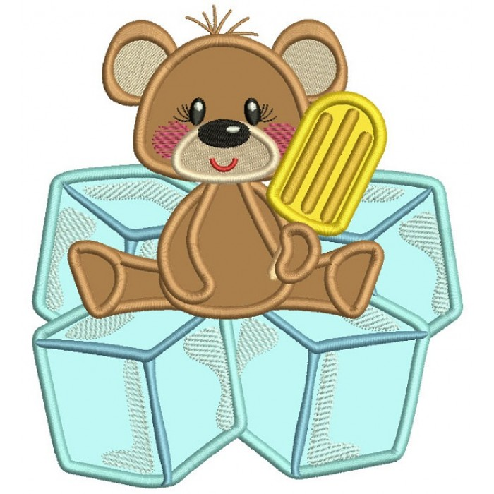 Little Bear Sitting On Cubes Applique Machine Embroidery Digitized Design Pattern