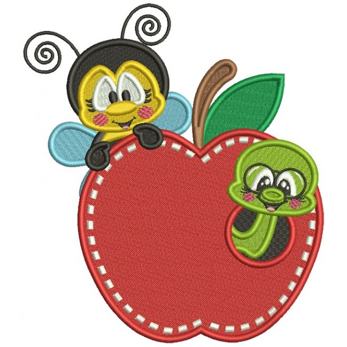 Little Bee and Bookworm Filled Machine Embroidery Design Digitized Pattern