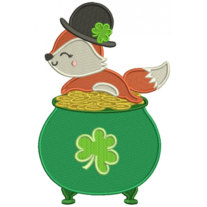 Lucky Fox Sitting On The Pot Of Gold St. Patrick's Day Filled Machine Embroidery Design Digitized Pattern