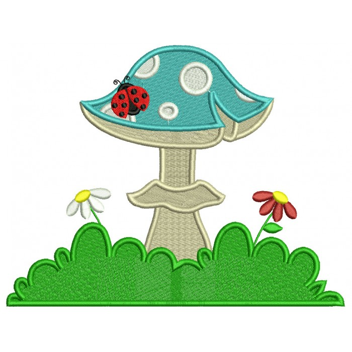 Mushroom With Flowers And Ladybug Filled Machine Embroidery Design Digitized Pattern