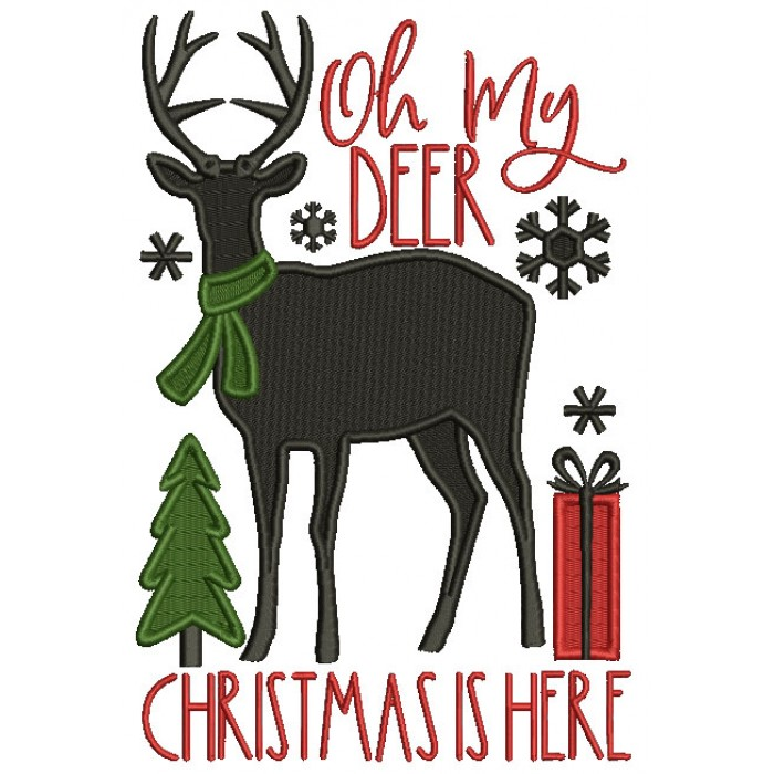 Oh My Deer Christmas Is Here Filled Machine Embroidery Design Digitized Pattern