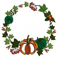Pumpkin And Fall Leaves Wreath Thanksgiving Applique Machine Embroidery Design Digitized Pattern