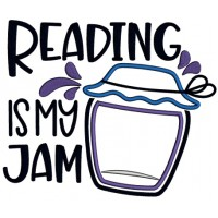 Reading Is My Jam Applique Machine Embroidery Design Digitized Pattern
