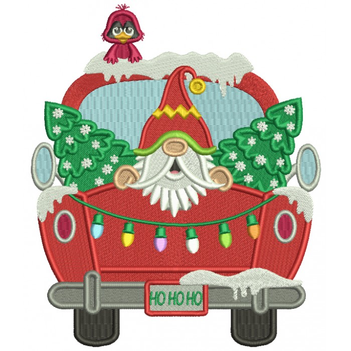 Santa Sitting In The Back Of a Truck With Christmas Trees Filled Machine Embroidery Design Digitized Pattern