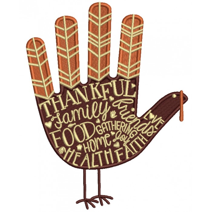 Thankful Family Food Gathering Hand Thanksgiving Filled Machine Embroidery Design Digitized Pattern