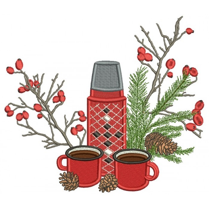 Thermos And Coffee Christmas Filled Machine Embroidery Design Digitized Pattern