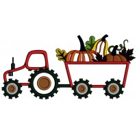 Tractor With Pumpkins Fall Thanksgiving Applique Machine Embroidery Design Digitized Pattern