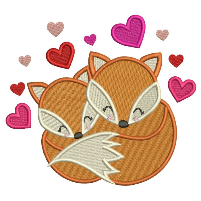 Two Foxes And Hearts Valentine's Day Filled Machine Embroidery Design Digitized Pattern