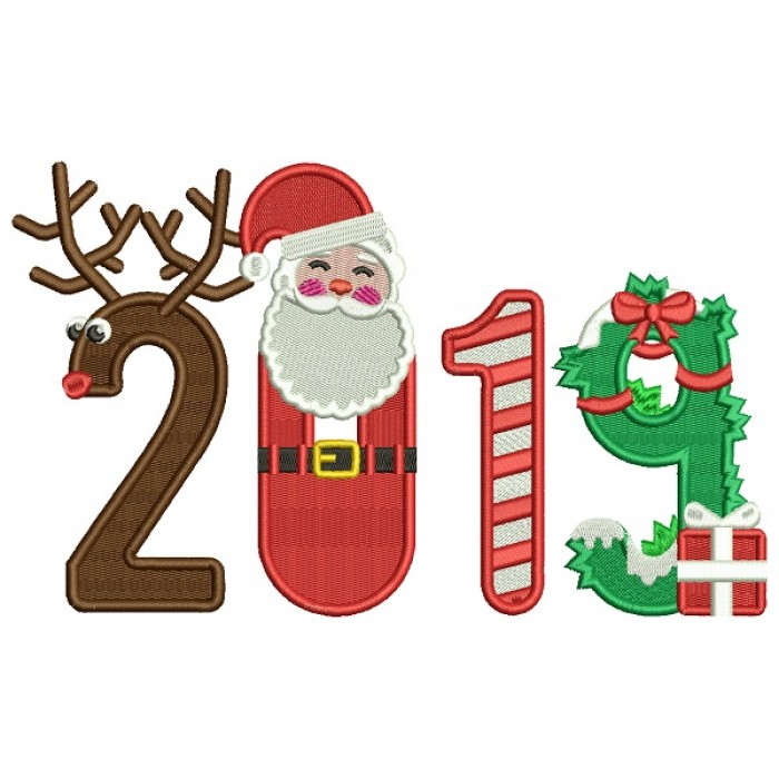 2019 Santa And Reindeer New Year Filled Machine Embroidery Design Digitized Pattern