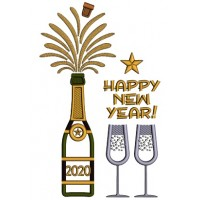 2020 Happy New Year Champagne Glasses Applique Machine Embroidery Design Digitized Pattern