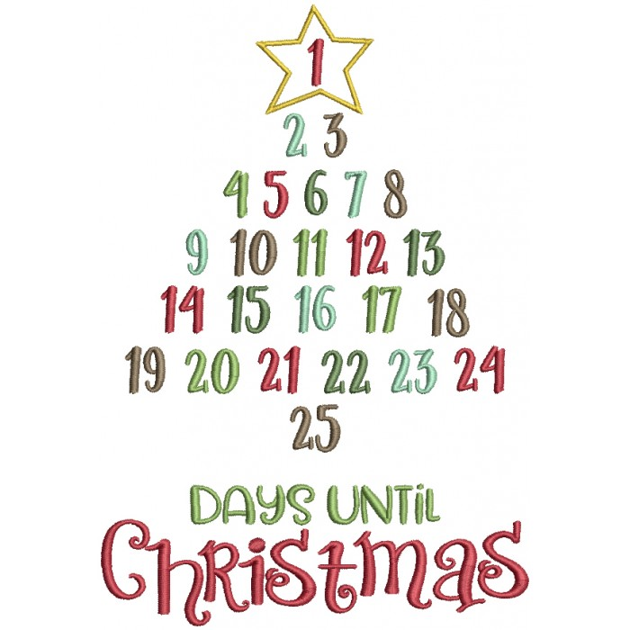 25 Days Until Christmas Countdown Tree Filled Machine Embroidery Design Digitized Pattern