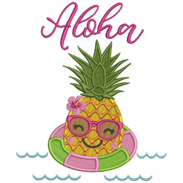 Aloha Pineapple In The Sea Filled Machine Embroidery Design Digitized Pattern