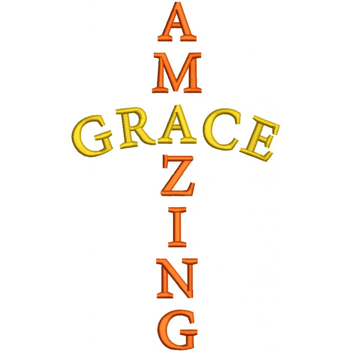 Amazing Grace Filled Machine Embroidery Design Digitized Pattern