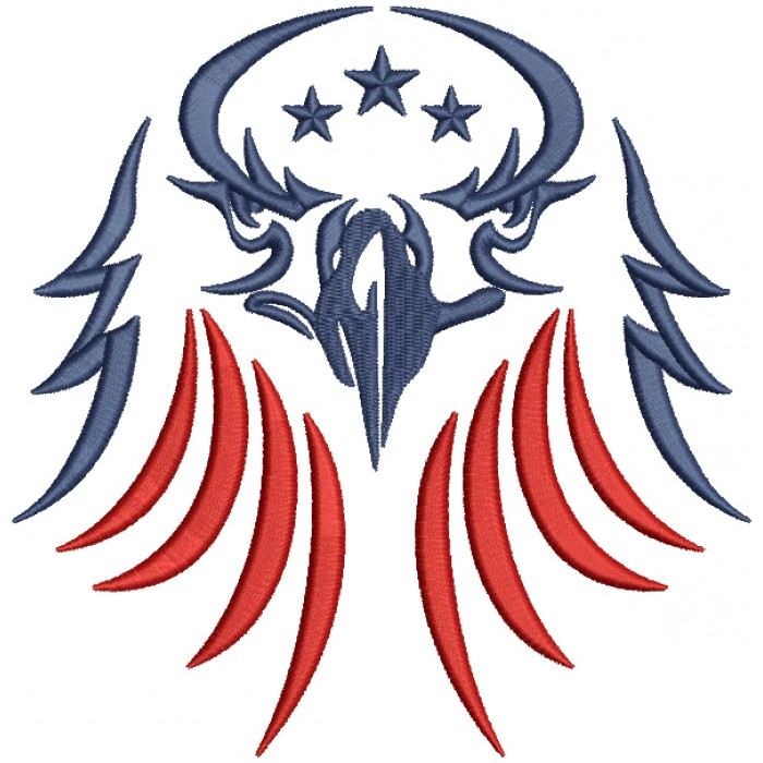 American Eagle Patriotic Filled Machine Embroidery Design Digitized Pattern