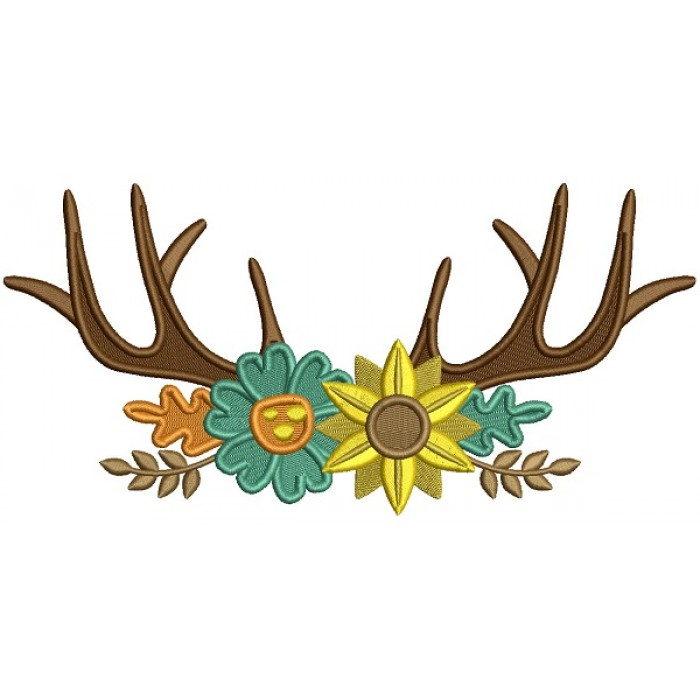 Antlers With Flowers Filled Machine Embroidery Design Digitized Pattern