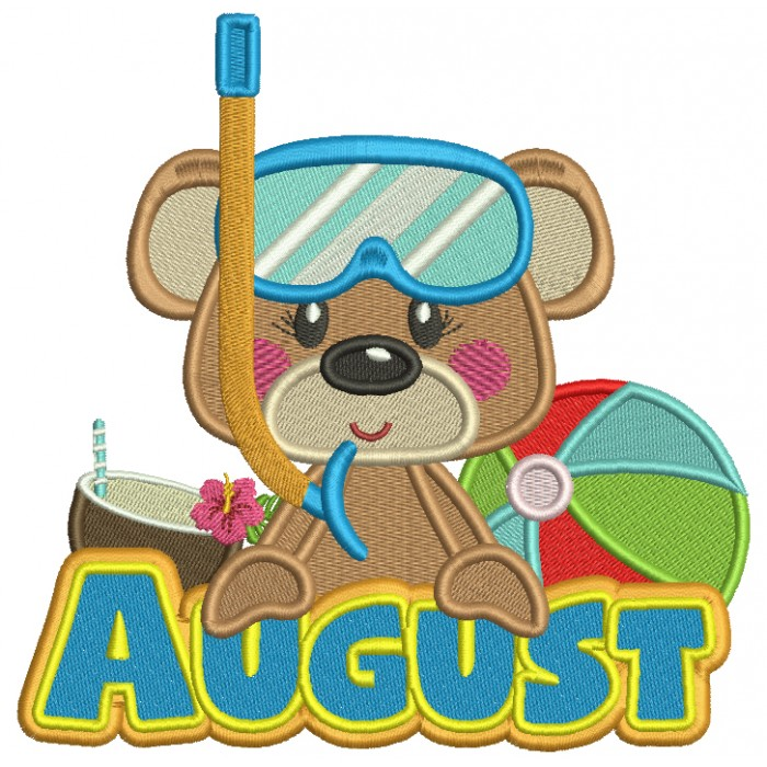 August Bear With Beach Ball Summer Filled Machine Embroidery Design Digitized Pattern