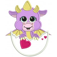 Baby Dragon Inside An Egg Holding a Heart Applique Machine Embroidery Design Digitized Pattern