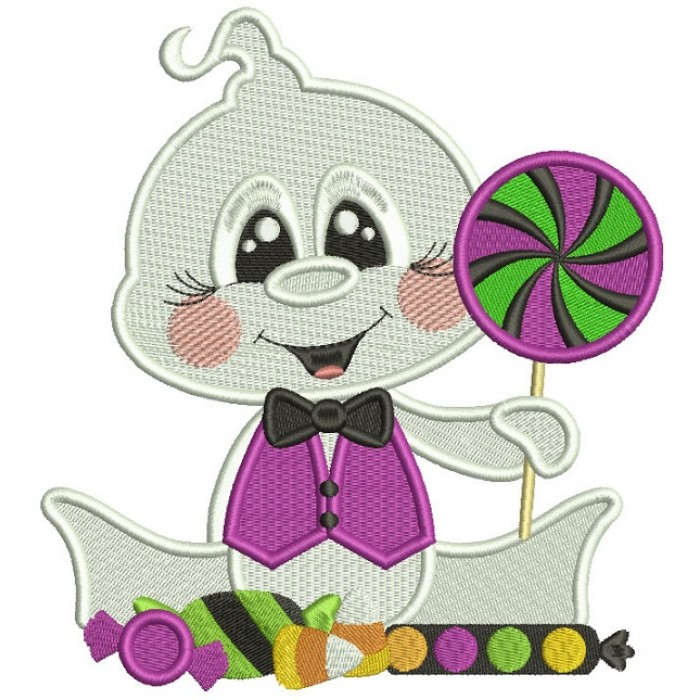 Baby Ghost Holding Candy Halloween Filled Machine Embroidery Design Digitized Pattern