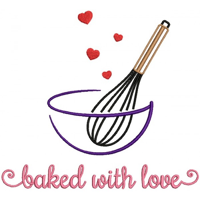 Baked With Love Cooking Filled Machine Embroidery Design Digitized Pattern
