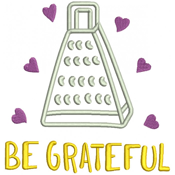Be Grateful With Hearts Filled Machine Embroidery Design Digitized Pattern