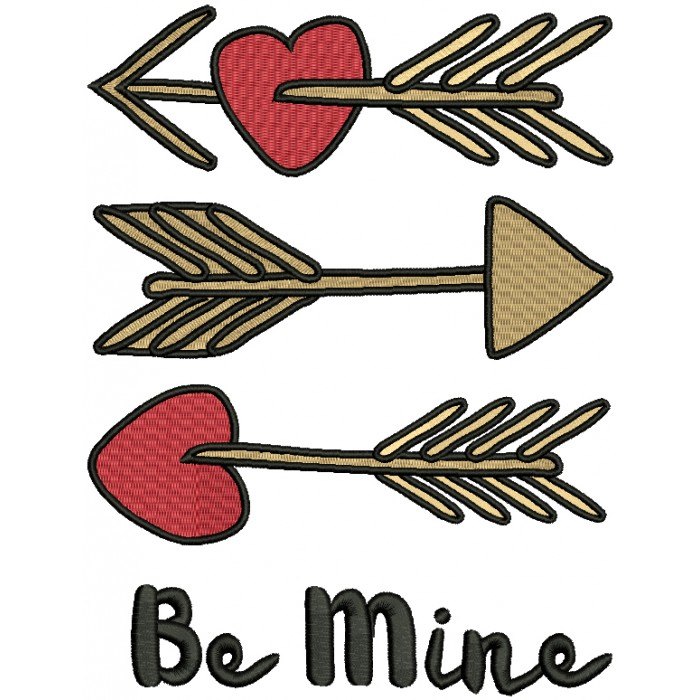 Be MIne Three Arrows Filled Machine Embroidery Design Digitized Pattern