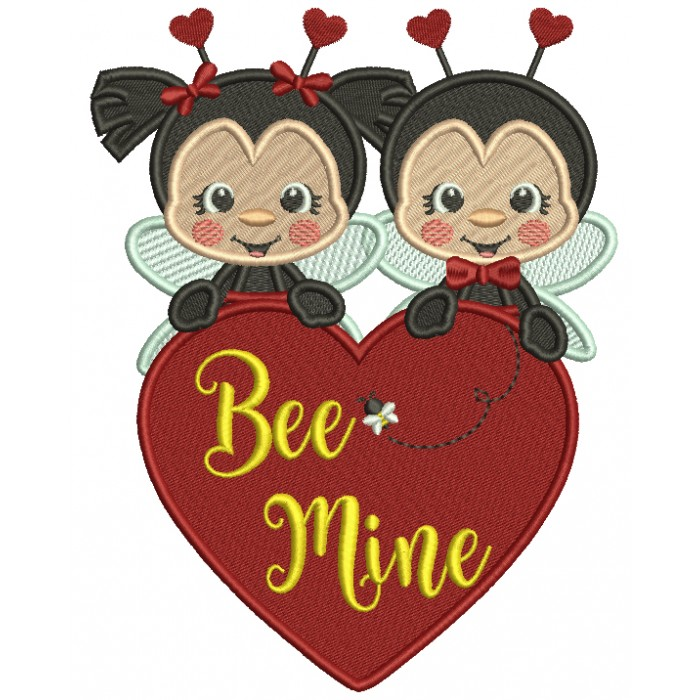 Be Mine Two Ladybugs Holding Hearts Filled Valentine's Day Machine Embroidery Design Digitized Pattern