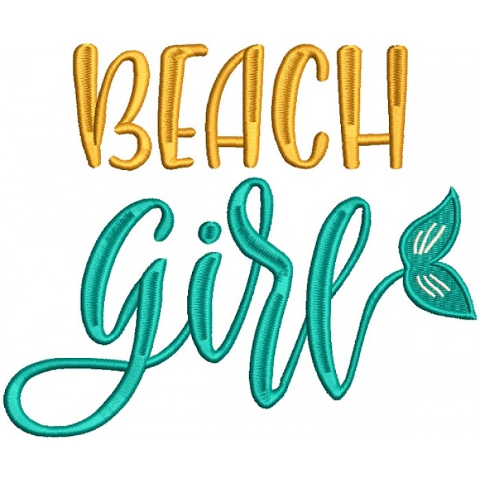 Beach Girl Mermaid Tail Filled Machine Embroidery Design Digitized Pattern