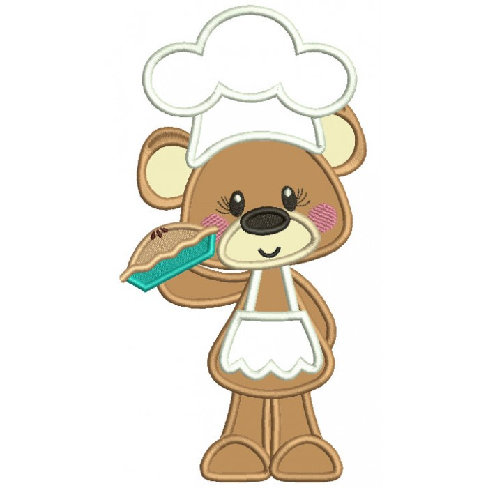 Bear Cook Holding a Pie Applique Machine Embroidery Digitized Design Pattern