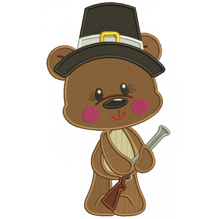Bear Pilgrim Hunter Thanksgiving Filled Machine Embroidery Design Digitized Pattern