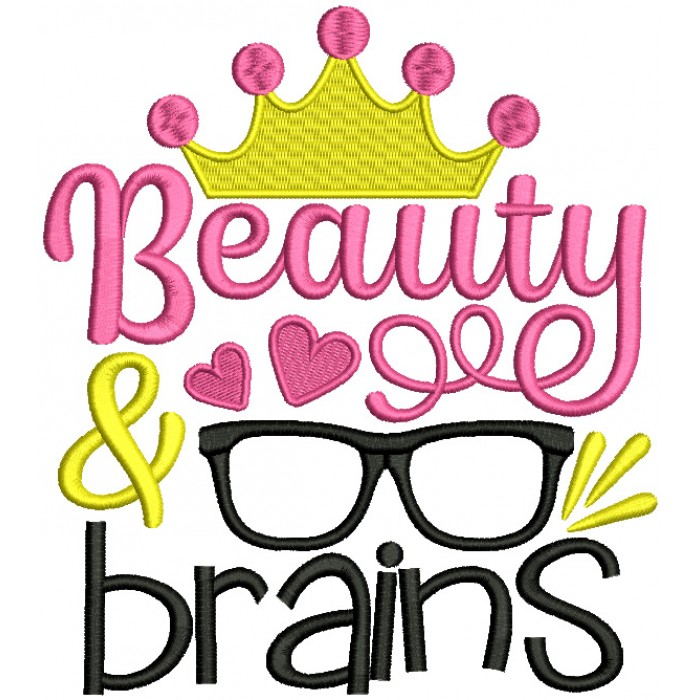 Beauty And Brains Princess Filled Machine Embroidery Design Digitized Pattern