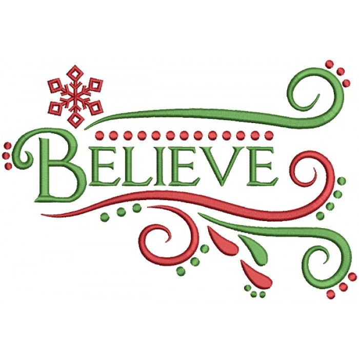 Believe Filled Christmas Machine Embroidery Design Digitized Pattern