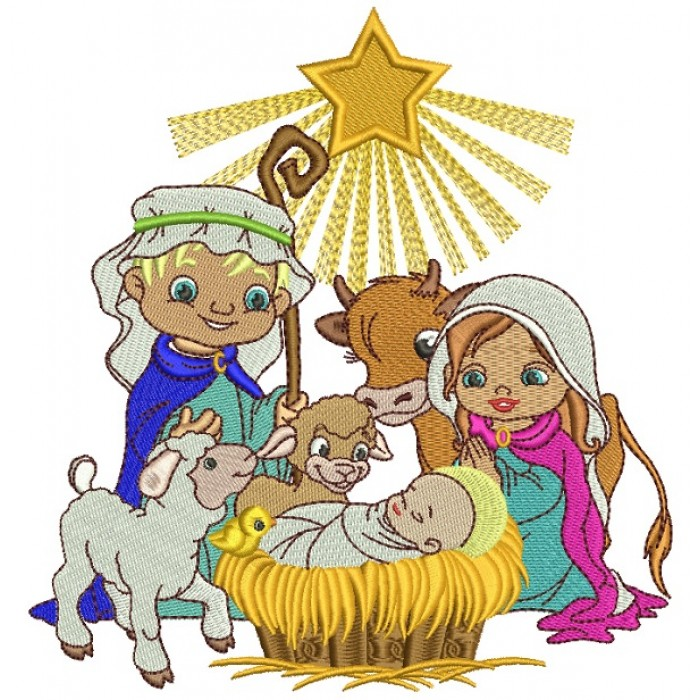Birth Of Christ Holly Night Christmas Filled Machine Embroidery Design Digitized Pattern