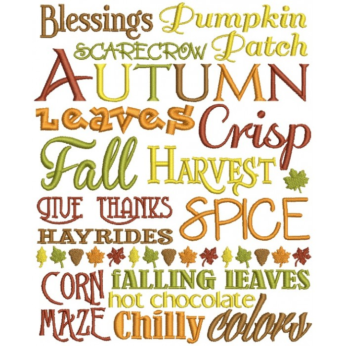 Blessings Pumpkin Patch Scarecrow Autumn Leaves Crisp Fall Harvest Filled Machine Embroidery Design Digitized Pattern